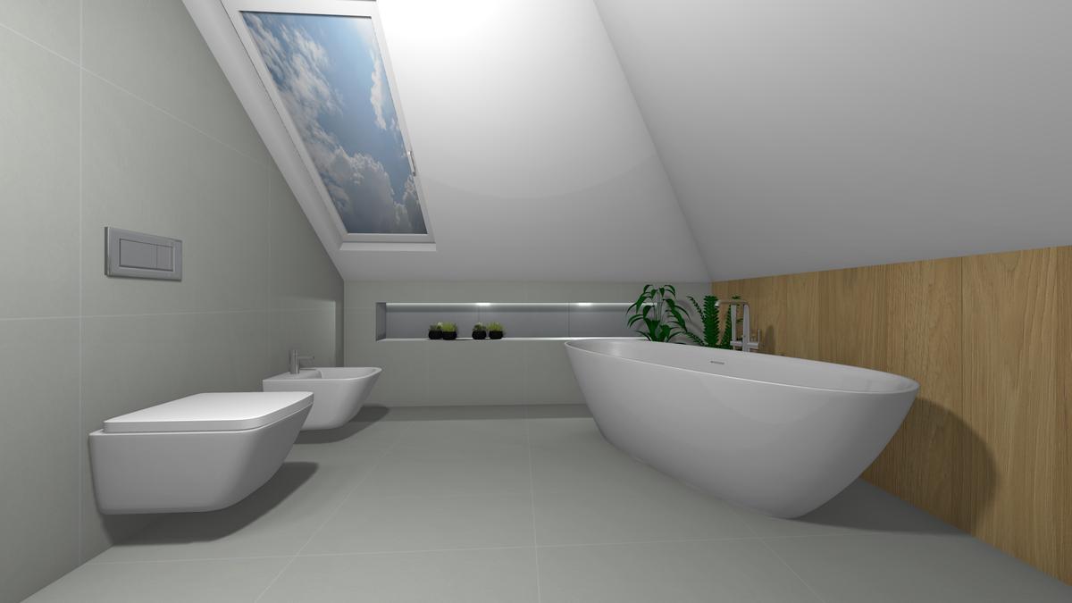 Szara łazienka na poddaszu - zdjęcie od BLU salon łazienek Krosno