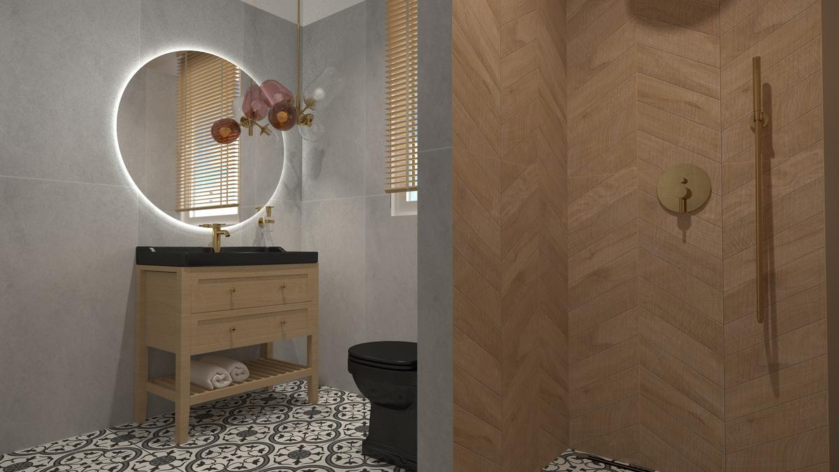 Szara łazienka w bloku z patchworkiem na podłodze - zdjęcie od BLU salon łazienek Suwałki