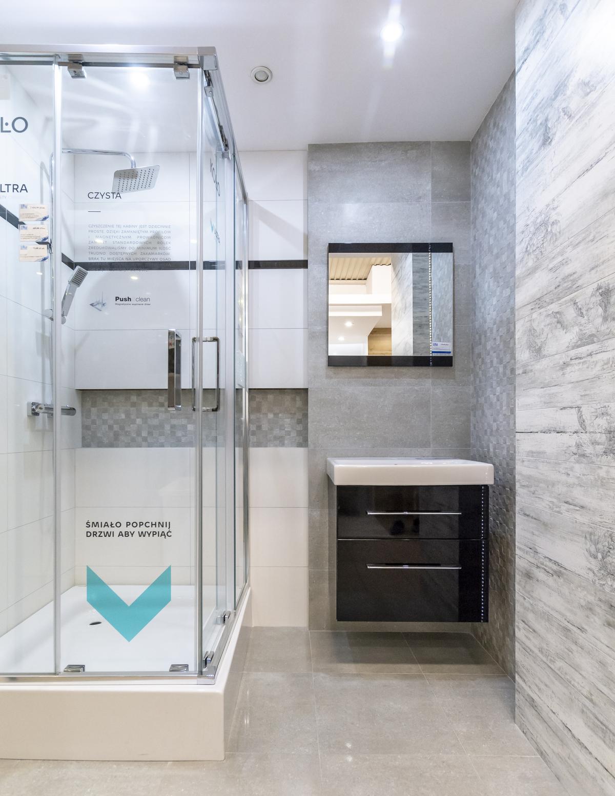 Szara łazienka wykończona płytkami Tubądzin Timbre - zdjęcie od BLU salon łazienek Biała Podlaska