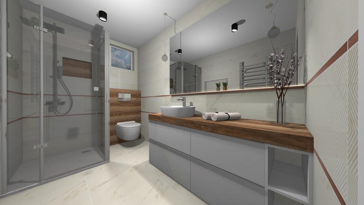 Szara łazienka z akcentem drewna - zdjęcie od BLU salon łazienek Krosno
