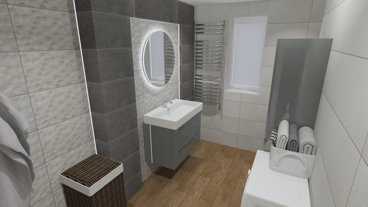 Szara łazienka z dodatkiem drewna - zdjęcie od BLU salon łazienek Chełm
