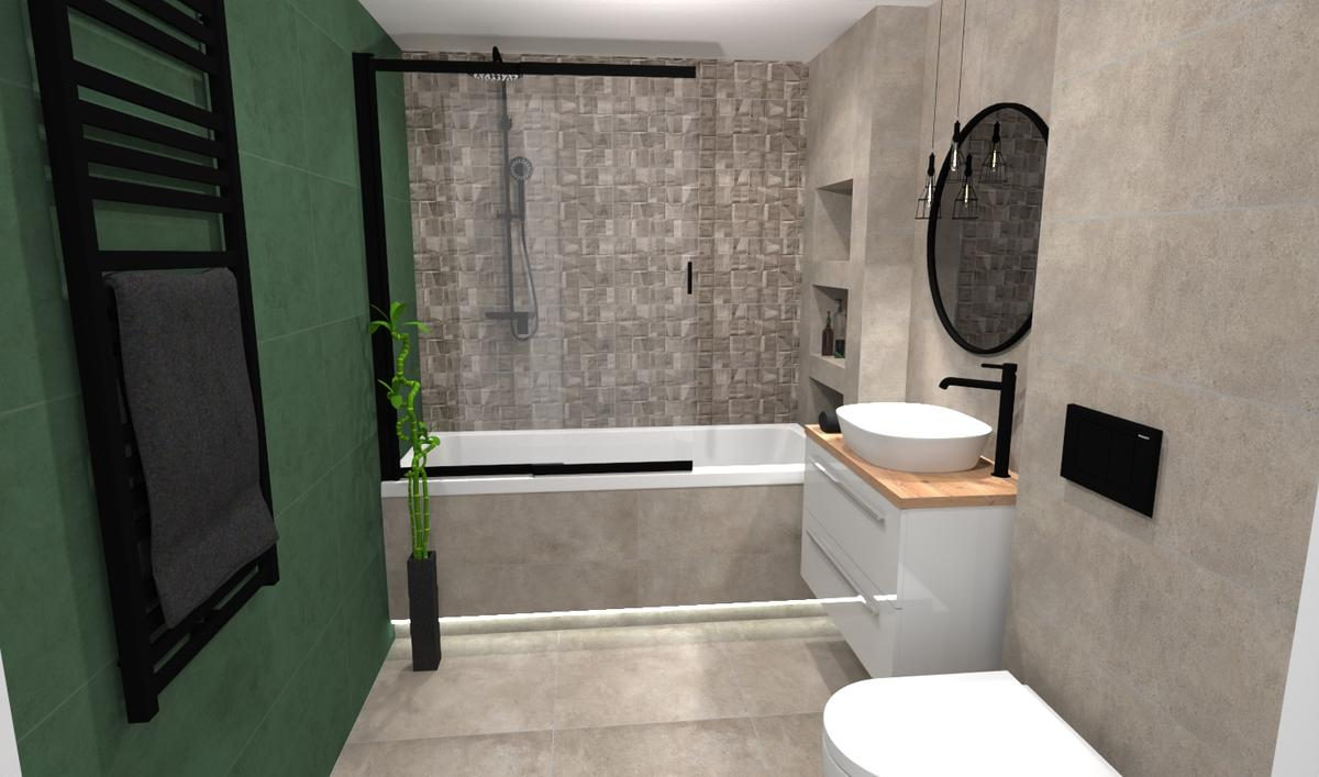 Szara łazienka z dodatkiem zieleni - zdjęcie od BLU salon łazienek Bielsko-Biała