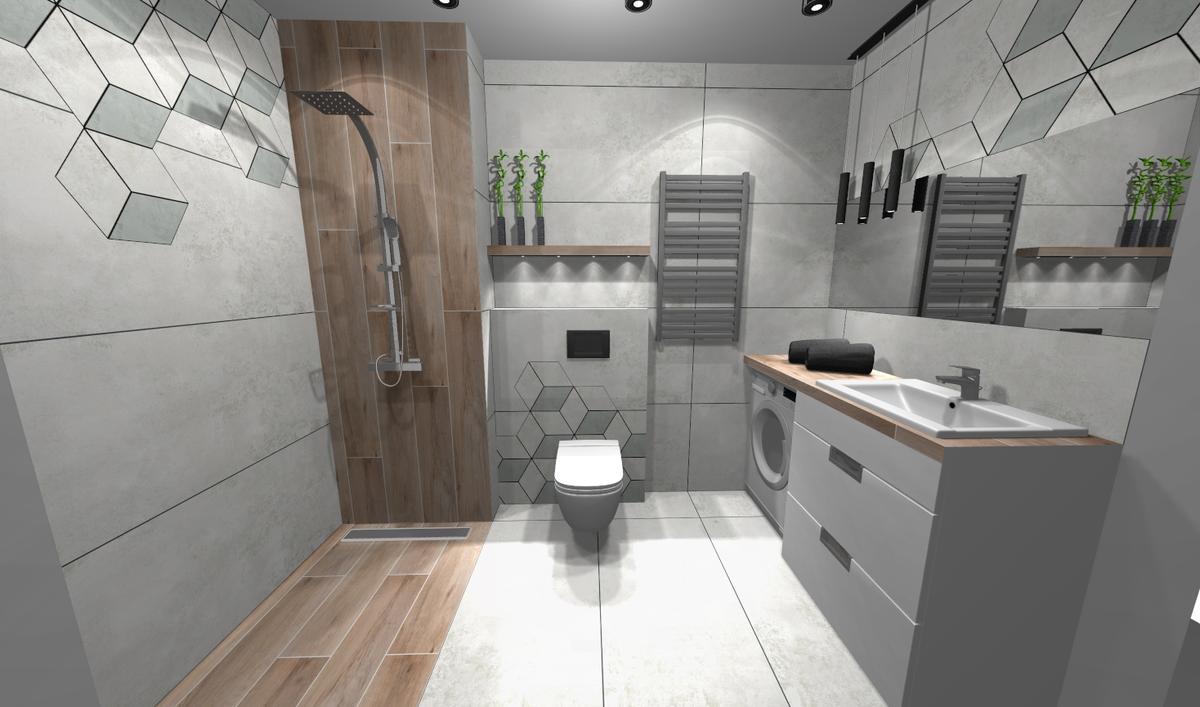 Szara łazienka z nowoczesnymi meblami - zdjęcie od BLU salon łazienek Bielsko-Biała