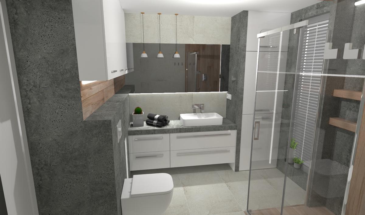 Szarości w małej łazience - zdjęcie od BLU salon łazienek Bielsko-Biała
