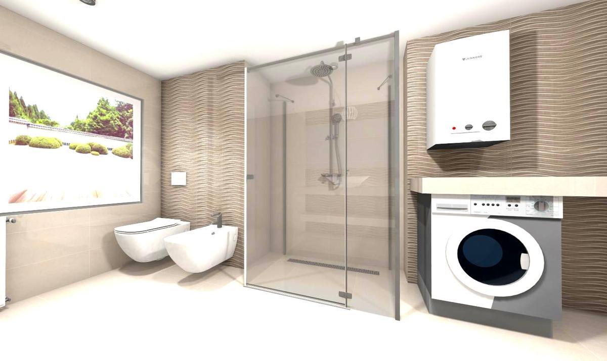 szrość beż i fala w łazience - zdjęcie od BLU salon łazienek Słupsk