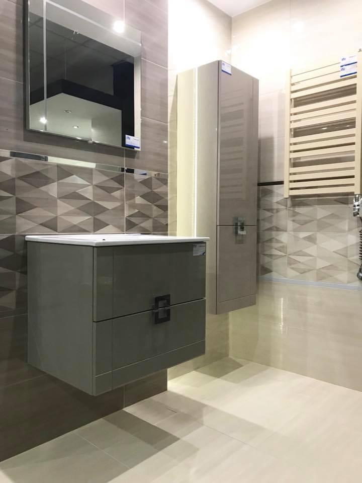 Tubądzin kolekcja Nursa - łazienka w szarościach i beżu - zdjęcie od BLU salon łazienek Łódź