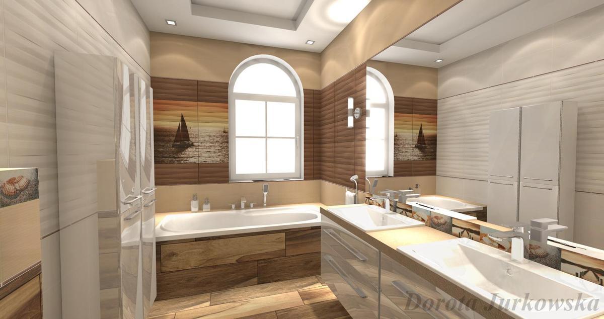 Tubądzin Maxima Beige - brązowo-biała łazienka - zdjęcie od BLU salon łazienek Iława