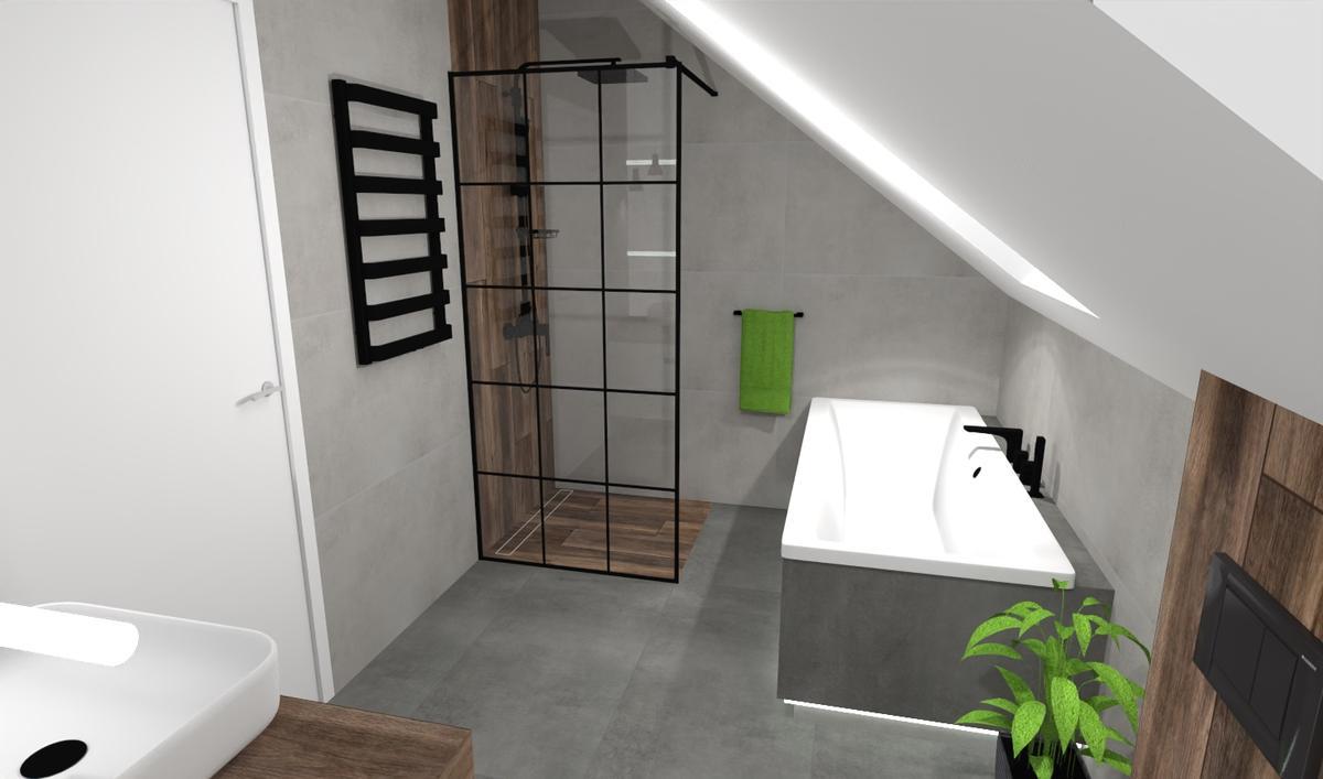 Wanna i prysznic w łazience pod skosami - zdjęcie od BLU salon łazienek Bielsko-Biała