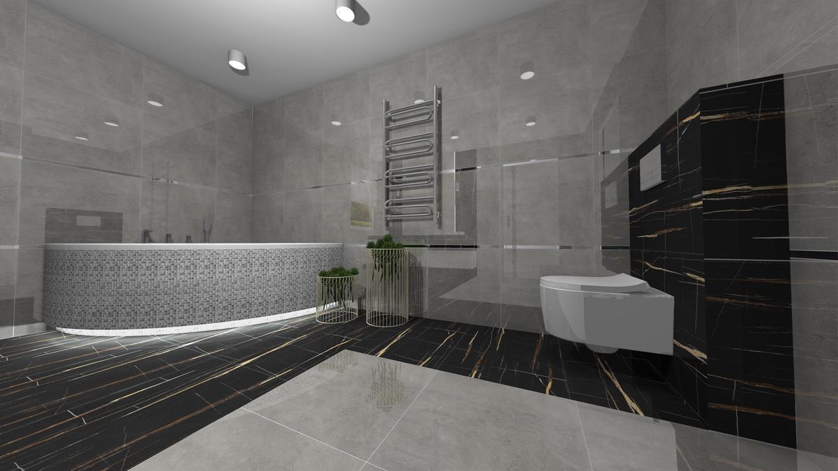 Wanna przyścienna w eleganckiej łazience - zdjęcie od BLU salon łazienek Krosno