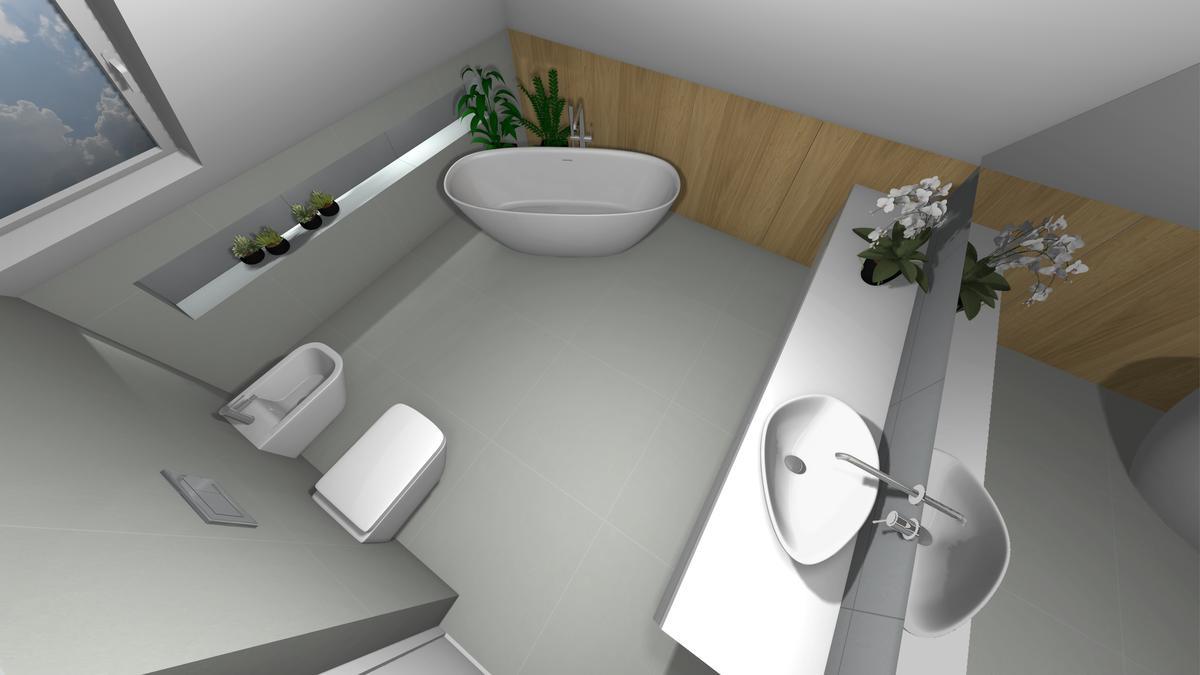 Wanna wolnostojąca w szarej łazience - zdjęcie od BLU salon łazienek Krosno
