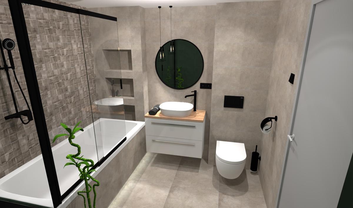 Wanna zabudowana w projekcie małej łazienki - zdjęcie od BLU salon łazienek Bielsko-Biała