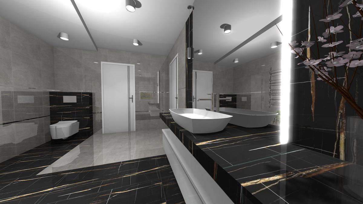 Wizualizacja dużej, eleganckiej łazienki - zdjęcie od BLU salon łazienek Krosno