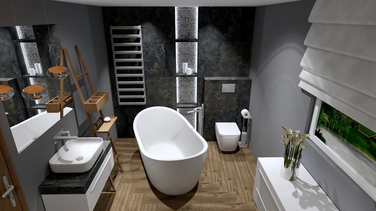 Wizualizacja łazienki płytka Opoczno Willow Sky Dark - zdjęcie od BLU Salon Łazienek Tarnobrzeg