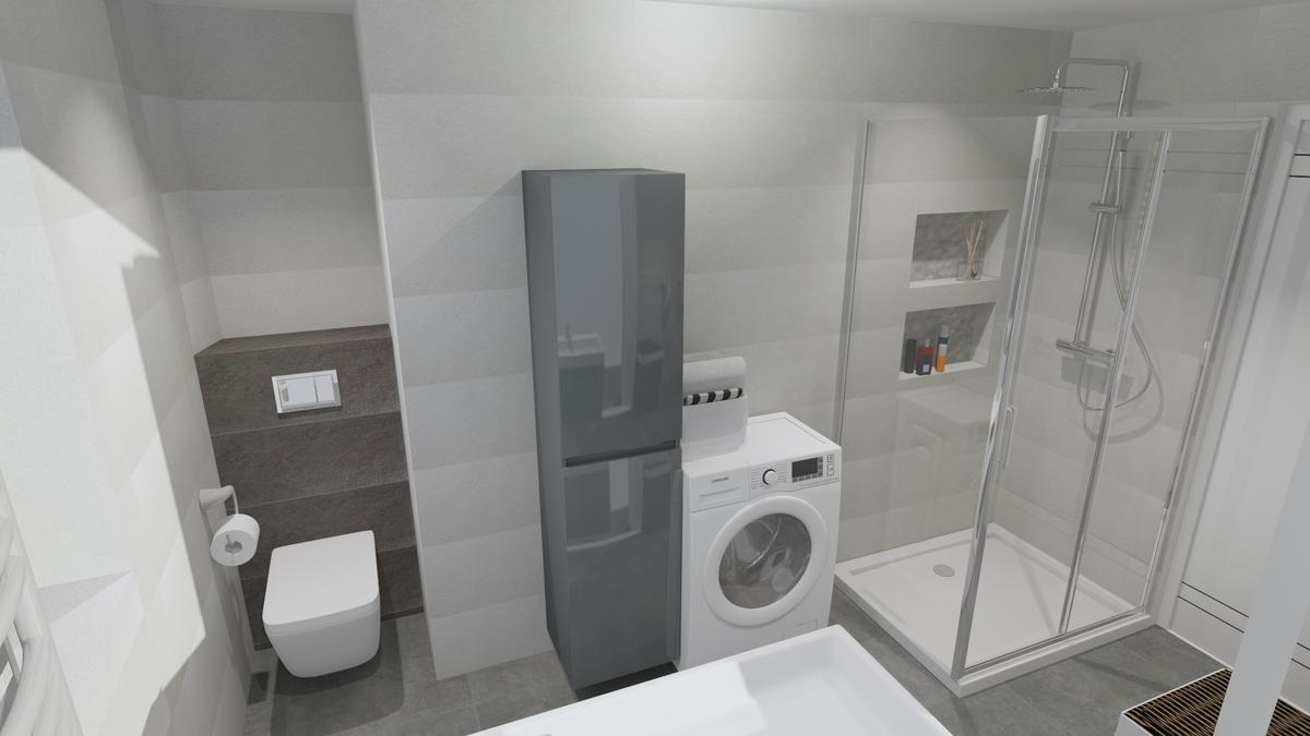 Wizualizacja szarej łazienki - zdjęcie od BLU salon łazienek Chełm