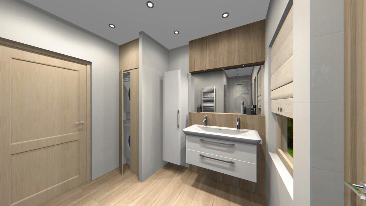 Zabudowa na pralkę w przykładowym pojekcie łazienki - zdjęcie od BLU salon łazienek Cieszyn