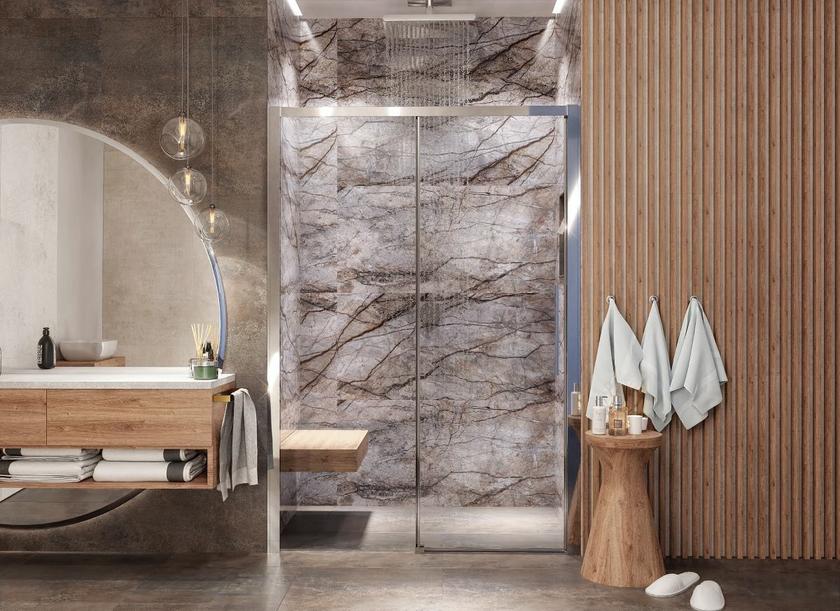 Stylowa kabina prysznicowa we wnęce z dzwiami IÖ Larso