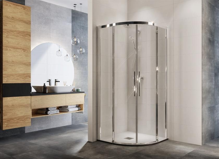 Łazienka z wygodną, półokrągłą kabiną prysznicową IÖ Larso