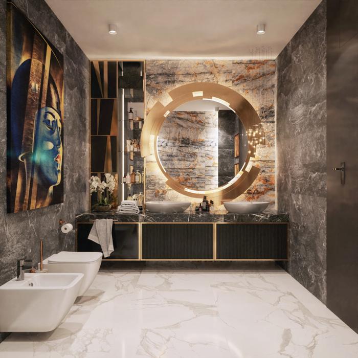 Łazienka w bieli, szarości oraz czerni przełamana elementami w kolorze złota