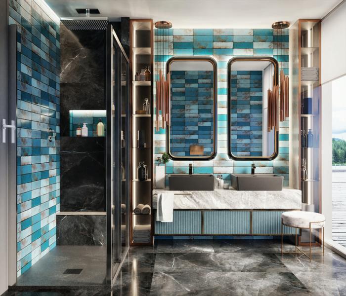 Przestronna łazienka z niebieskim akcentem Tubądzin Curio
