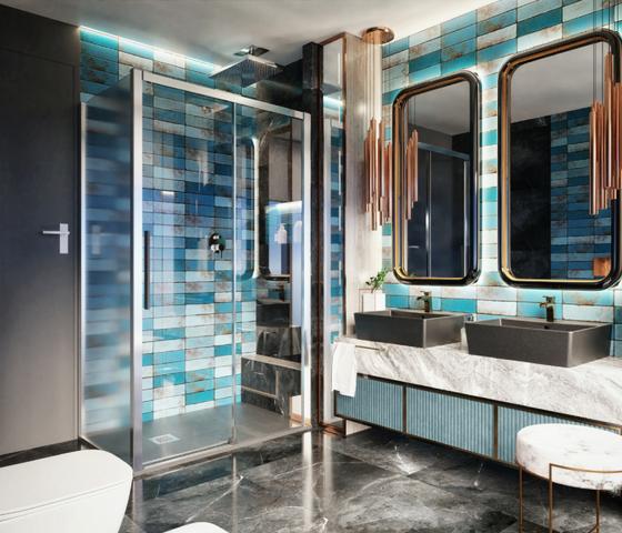 Komfortowa kabina prysznicowa w nowoczesnej łazience z płytkami Tubądzin Curio