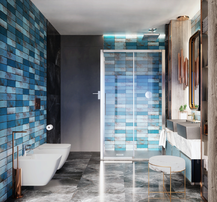 Płytki Tubądzin Curio w nowoczesnej łazience