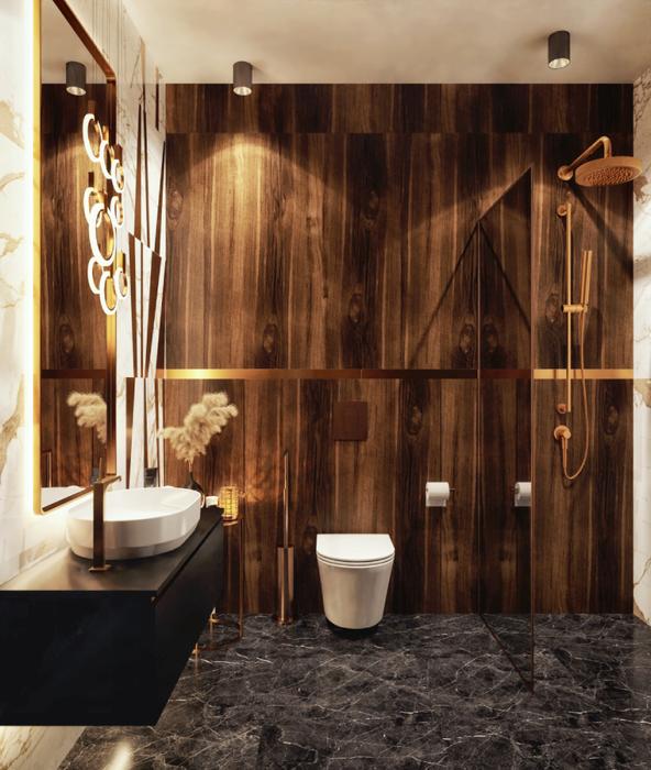 Mała, funkcjonalna łazienka w stylu art deco z płytkami Azario