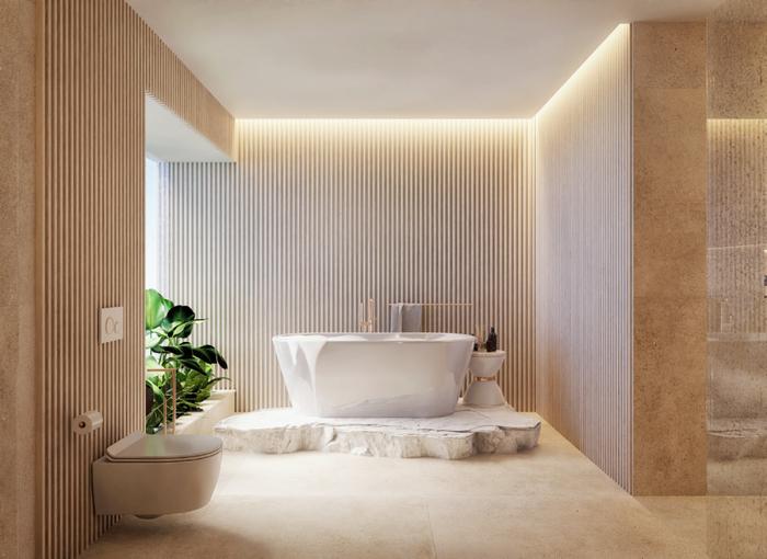 Nowoczesna łazienka z wygodną wanną i płytkami Azario