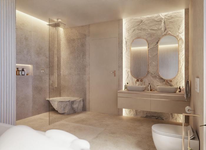 Jasna i przestronna łazienka z dużą kabiną prysznicową