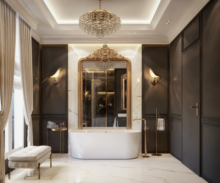 Elegancka łazienka w stylu pałacowym z wygodną wanną IÖ Sula