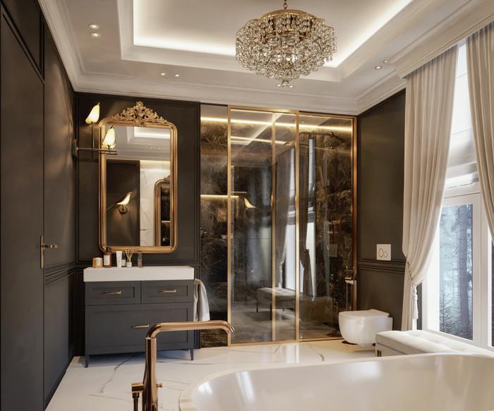Łazienka w stylu pałacowym z płytkami Azario Carrara Nimes oraz Marmi Black