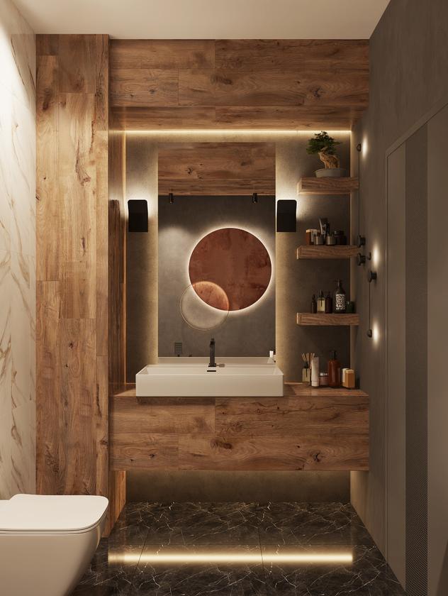 Brązowa łazienka z umywalką nablatową IÖ Garda