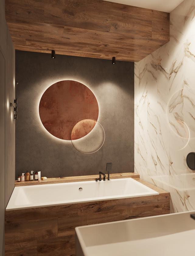 Mała łazienka z wanną i płytkami przypominającymi marmur i drewno
