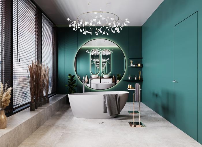 Wyrazista łazienka w kolorze z wanną wolnostojąca IÖ Tromso i płytkami Azario Hell Grau