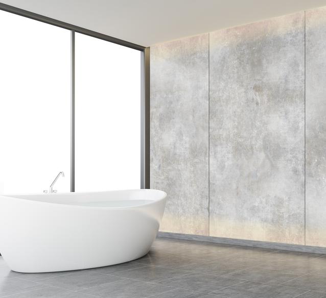 Płytka Azario Luna Bianco w aranżacji minimalistycznej łazienki