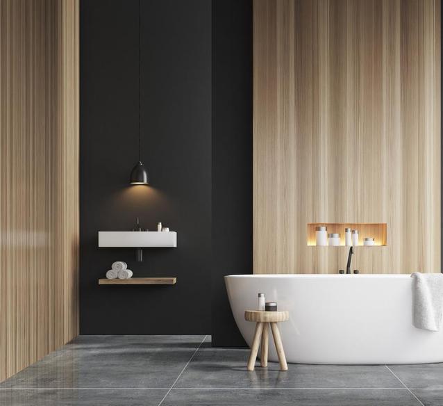 Nowoczesna łazienka z szarą podłogą Azario Tribeca Dunkiel Grau  - BLU Salony Łazienek